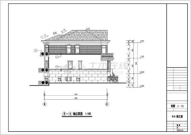 某单家独院式多层别墅建筑设计图纸-图3