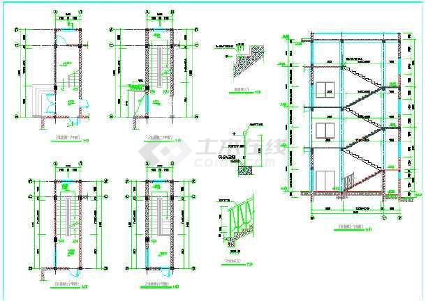 某地小型独栋办公楼建筑cad施工设计图(共12张)