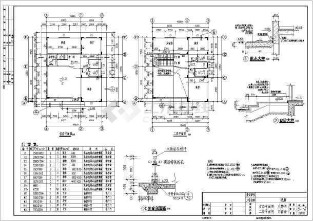 某坡屋顶别墅建筑施工图附带效果图-图3