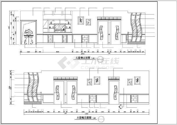 某二层茶楼室内装修cad施工图纸-图1