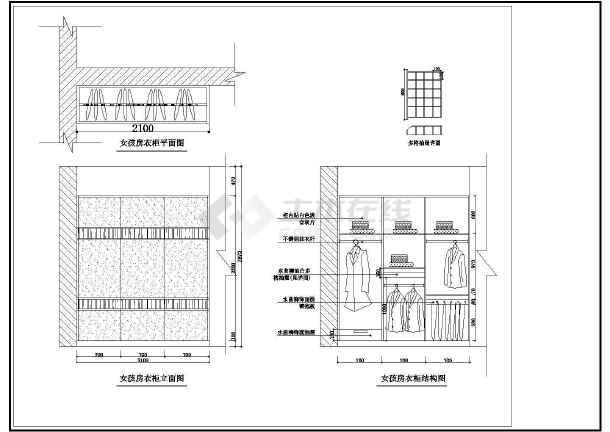 某小区经典两居室室内装修cad设计方案施工图-图1