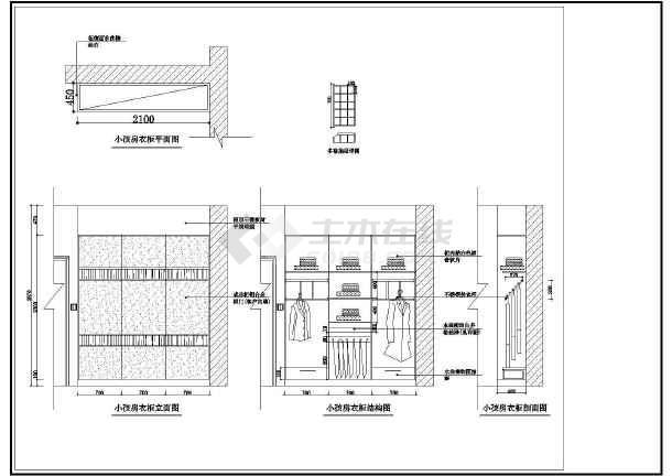 某小区经典两居室室内装修cad设计方案施工图-图3