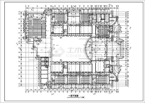 某地学校教学楼全套建筑施工图纸(标注详细)-图1