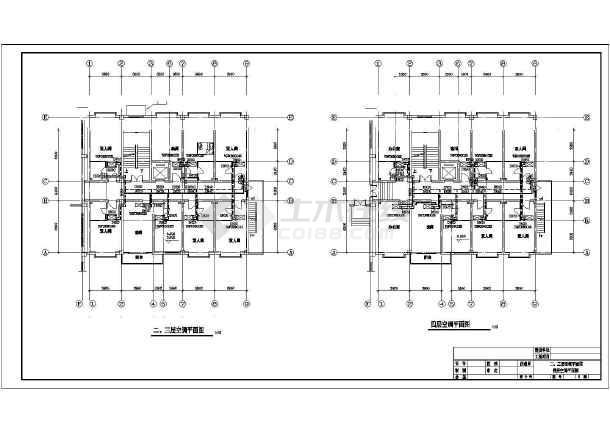 某招待所空气源热泵空调设计cad图-图1