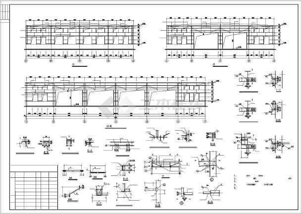 某城市30M跨厂房建筑结构图纸(节点详细)-图1
