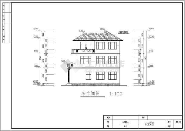 某3层别墅建筑详细施工CAD图纸-图3
