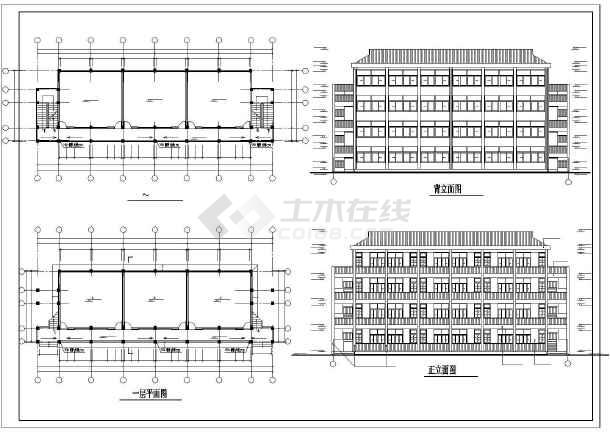 某地教学楼建筑施工图纸(共3张)-图1