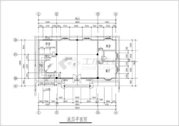 某多层独栋别墅建筑结构设计CAD图-图1