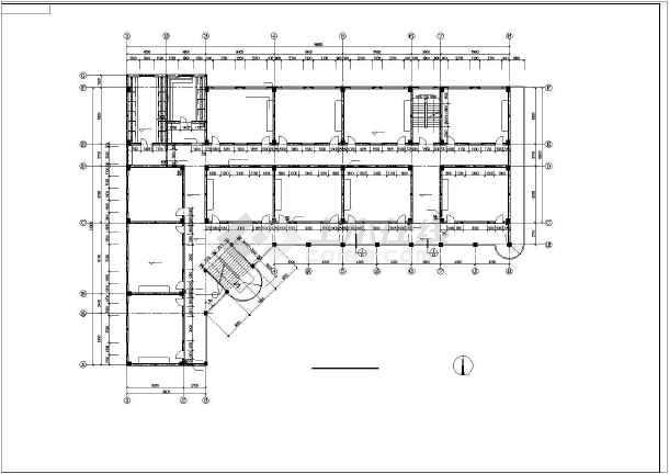 某学校教学楼全套设计图纸(共9张)-图1
