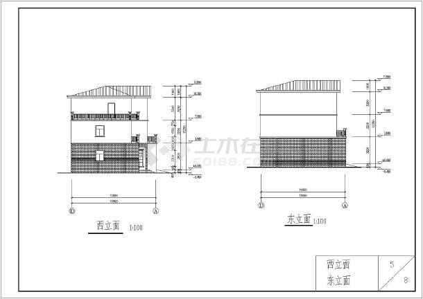 某砖混结构独栋别墅建筑详细施工图-图1