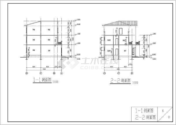 某砖混结构独栋别墅建筑详细施工图-图2