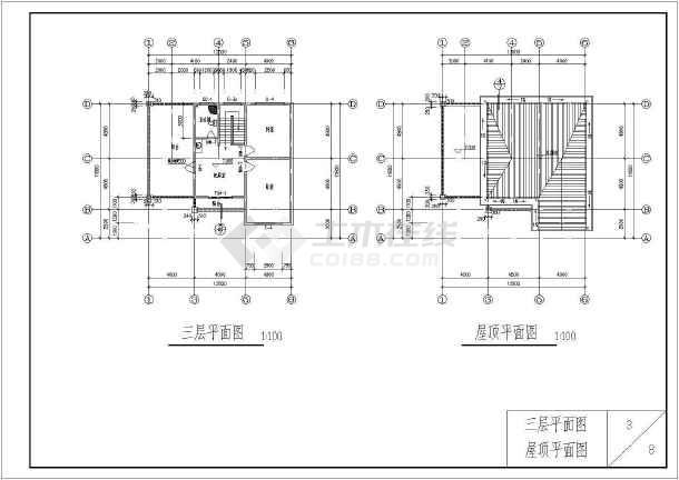 某砖混结构独栋别墅建筑详细施工图-图3