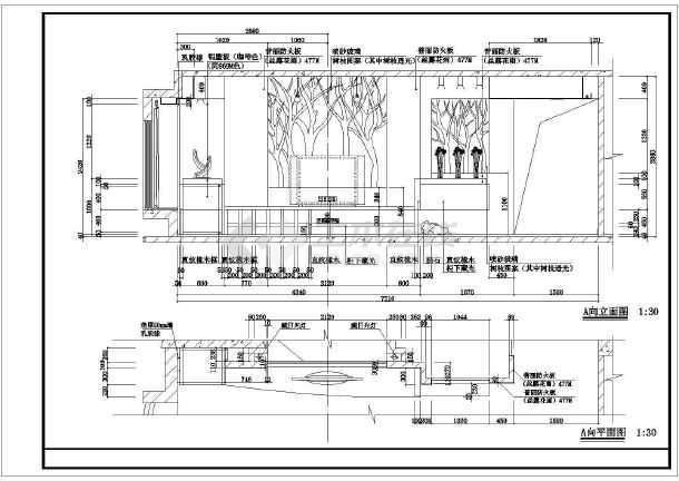 某地区大型现代电视墙立面装修图纸-图1