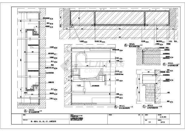 某地区小型小卫生间装修cad施工图纸-图1