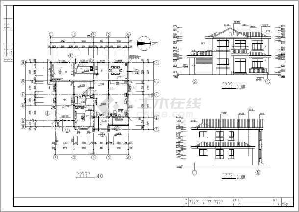 某别墅结构建筑cad施工设计图纸-图1