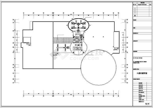 某六层机房空调平面设计施工cad图-图1