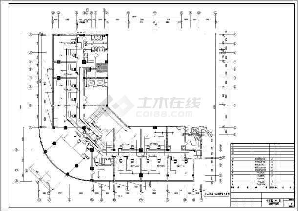 某地区商务楼空调接管平面cad施工图-图1