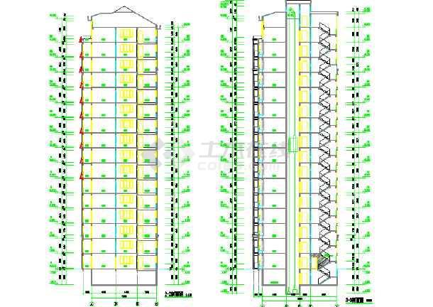 高层框剪结构单元式住宅建筑施工图