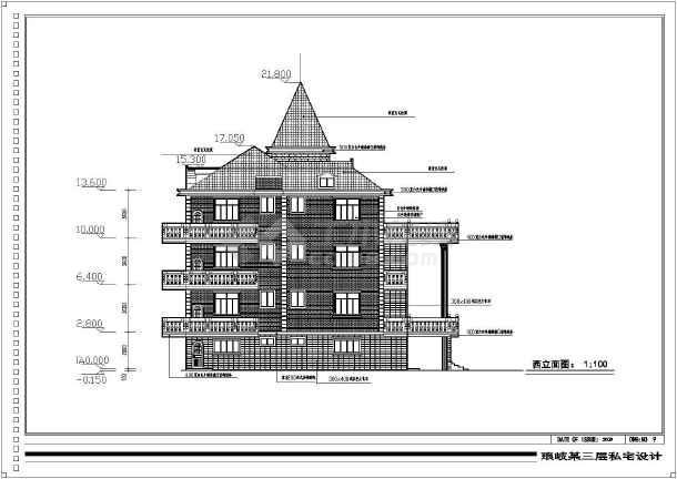 某三层带阁楼复古独栋别墅施工图纸-图1