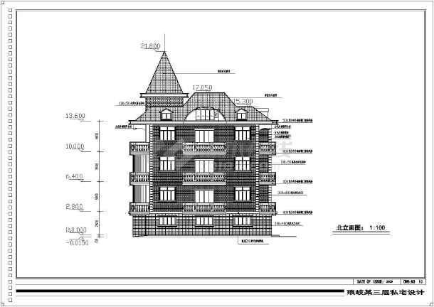 某三层带阁楼复古独栋别墅施工图纸-图2