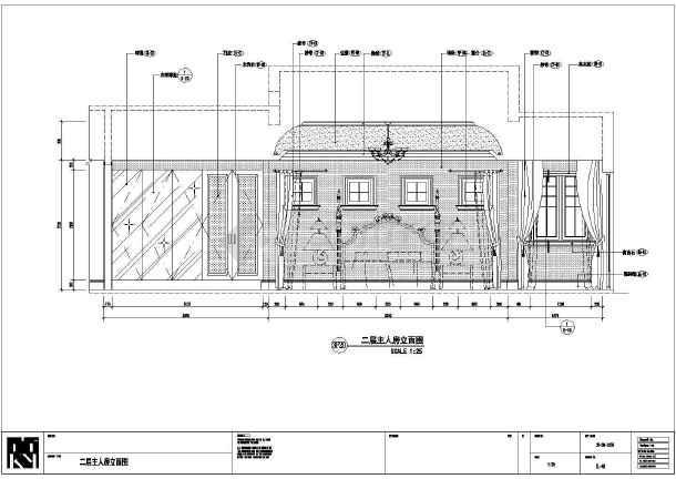 某地区大型欧式别墅主人房立面装修图-图1