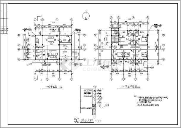 某4层独栋私人别墅建筑结构设计图-图2