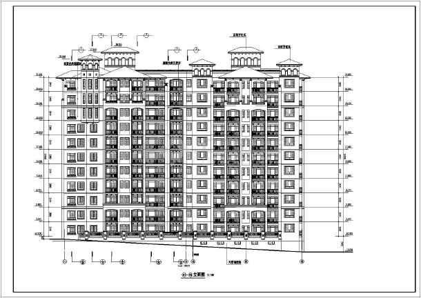 某小区高层住宅建筑设计cad立面图