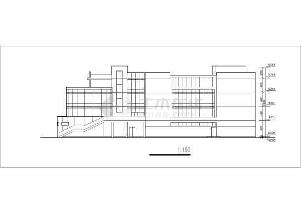 某地区4层大学展览馆方案CAD设计图-图2