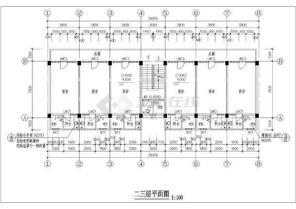 多层宿舍楼建筑施工图(标注详细)