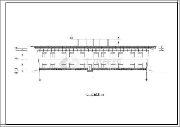 某地区3层城市展览馆建筑设计CAD图-图1