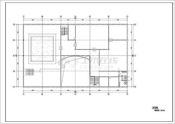 某地区3层城市展览馆建筑设计CAD图-图3