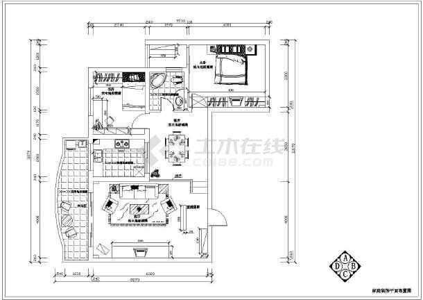 一套两室两厅家庭装饰cad眼镜布置图纸豆豆拼图纸平面拼图片