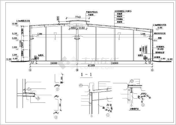 江西省某城市钢结构厂房cad建施图,其中包含说明图,平面图,立面图及剖