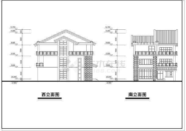 完整的别墅平立剖建筑cad设计图纸