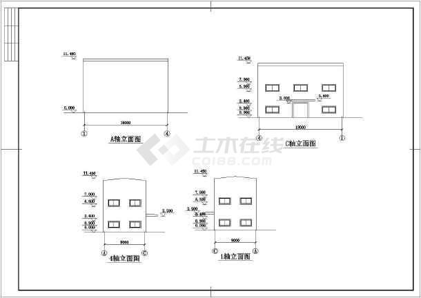 某地区轻钢结构二层车展厅建筑设计方案图-图1