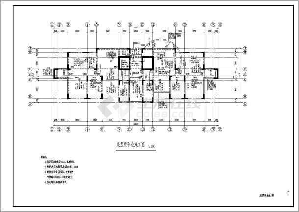 小高层住宅框剪结构cad施工设计工程图纸-图3