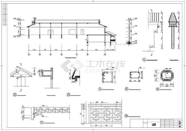 某农庄仿古建筑设计cad施工图纸-图1