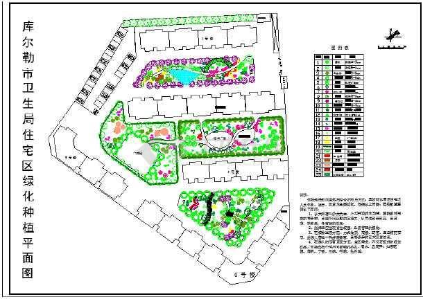 某住宅区庭院绿化种植平面图