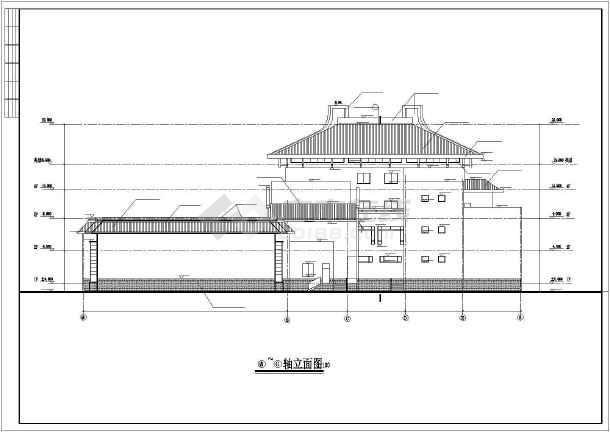 某四层仿古建筑立面CAD设计图纸-图1