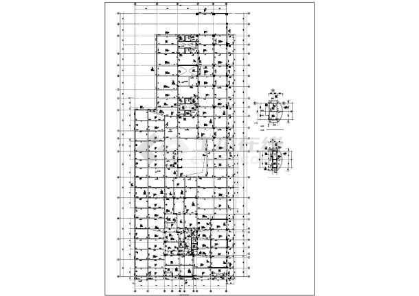 框剪结构裙楼全套梁板配筋cad施工图-图1