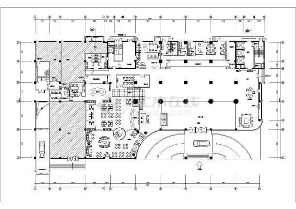 旅馆建筑设计平面图_某酒店大堂建筑设计施工CAD平面图_cad图纸下载-土木在线