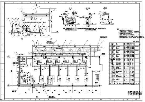 某地区大厦空压机房系统cad施工设计图纸