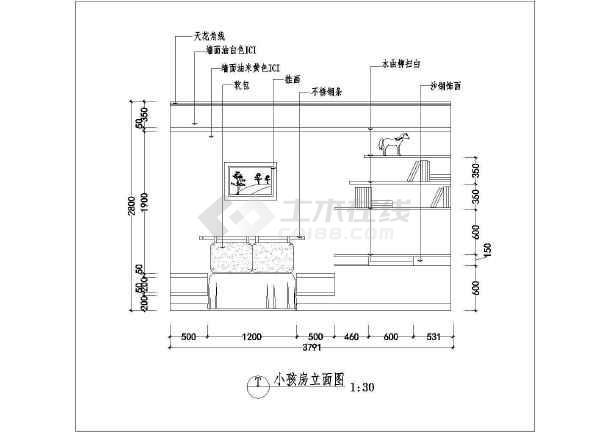 某地区卧室床位背景墙装修cad设计平面图