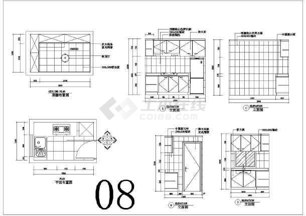 橱柜图纸cad厨房_厨房橱柜cad图纸大全免费下图纸区分承重墙图片