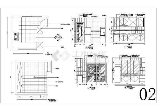 厨房橱柜cad图纸_橱柜图纸cad大全天线免费下图纸厨房识宝图片