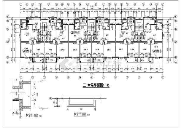 单元式多层住宅建筑施工图的完整CAD图纸