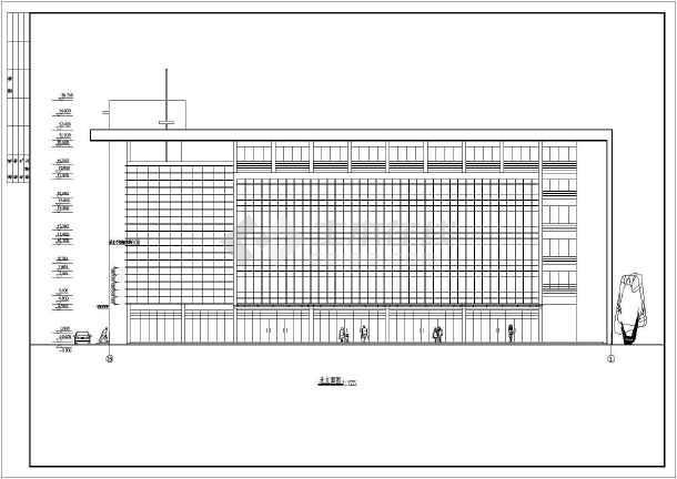 某地区大型商务楼建筑框剪结构图(标注详细)-图1