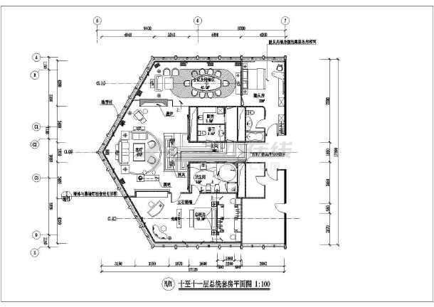 平面设计大参考_某个五星级大酒店的一个总统套房平面设计图_cad图纸下载-土木在线