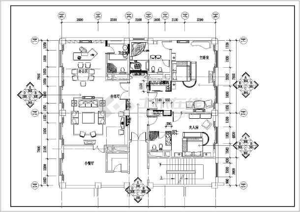某酒店总统套房设计施工CAD建筑平面图