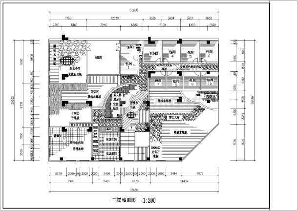 52米 二层茶艺馆建筑设计图(平面地面天花图)-图2